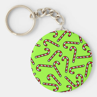 Candy Canes Basic Round Button Keychain
