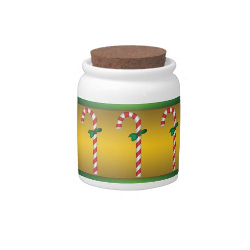 Candy Canes Candy Jar with Gold Background