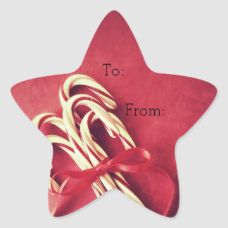 Candy canes Christmas gift tag Star Sticker