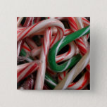 Candy Canes Christmas Holiday White Green and Red Button