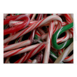 Candy Canes Christmas Holiday White Green and Red Card