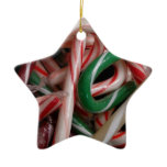 Candy Canes Christmas Holiday White Green and Red Ceramic Ornament