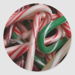 Candy Canes Christmas Holiday White Green and Red Classic Round Sticker