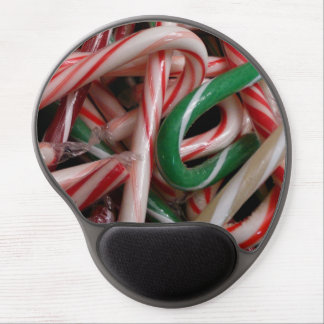Candy Canes Christmas Holiday White Green and Red Gel Mouse Pad