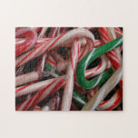 Candy Canes Christmas Holiday White Green and Red Jigsaw Puzzle
