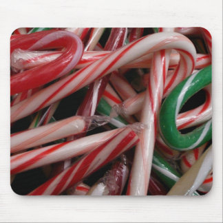 Candy Canes Christmas Holiday White Green and Red Mouse Pad