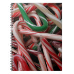 Candy Canes Christmas Holiday White Green and Red Notebook