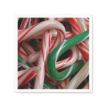 Candy Canes Christmas Holiday White Green and Red Paper Napkin