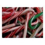 Candy Canes Christmas Holiday White Green and Red Poster