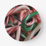 Candy Canes Christmas Holiday White Green and Red Round Clock