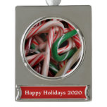 Candy Canes Christmas Holiday White Green and Red Silver Plated Banner Ornament