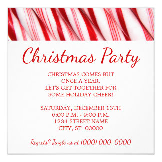 Candy Canes Christmas Party Card