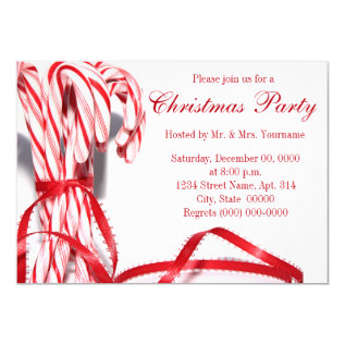 Candy Canes Christmas Party Invitations at Zazzle
