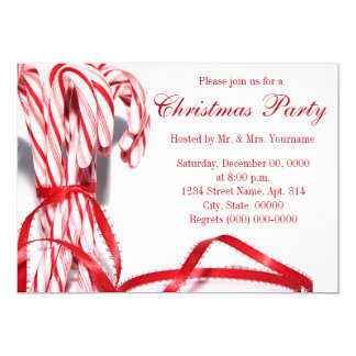 Candy Canes Christmas Party Invitations