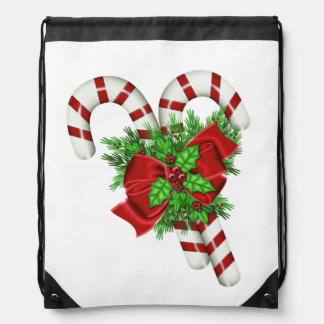 Candy Canes Drawstring Bag