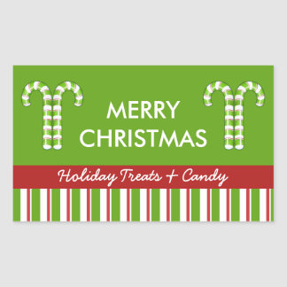 Candy Canes green Candy Gift Jar Label Rectangular Sticker