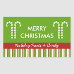 Candy Canes green Candy Gift Jar Label Rectangle Sticker