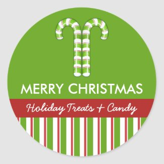 Candy Canes green Candy Gift Jar Round Label sticker