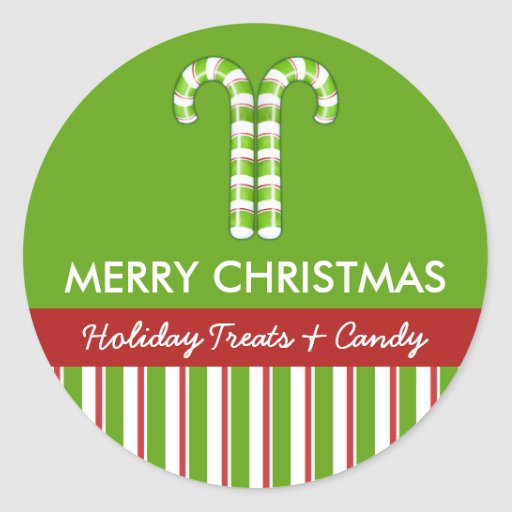 Candy Canes green Candy Gift Jar Round Label Classic Round Sticker