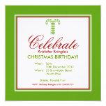 "Candy Canes green Christmas Birthday Invitation 5.25"" Square Invitation Card"
