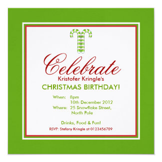 Candy Canes green Christmas Birthday Invitation