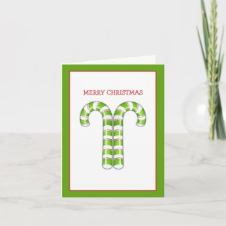 Candy Canes green Christmas Note Card card