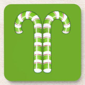 Candy Canes green Cork Coaster
