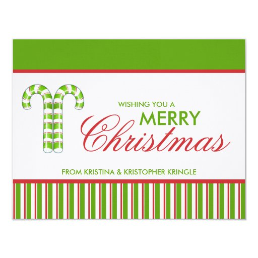 Candy Canes green flat Christmas Card