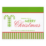 """Candy Canes green flat Christmas Card 4.25"""" X 5.5"""" Invitation Card"""