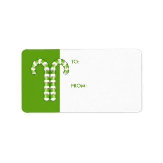 Candy Canes green Gift Tag label