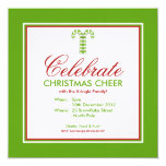 "Candy Canes green Party Invitation 5.25"" Square Invitation Card"