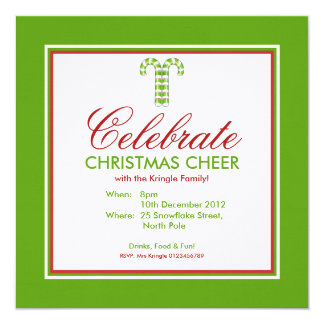 Candy Canes green Party Invitation