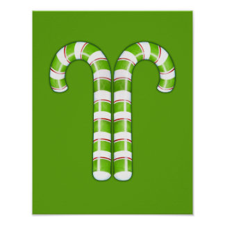 Candy Canes green Poster