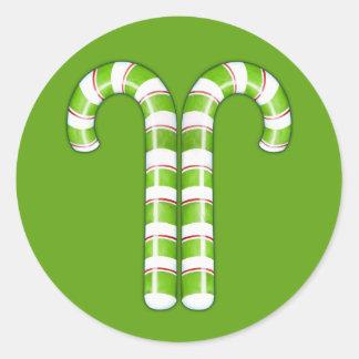 Candy Canes green Round Sticker