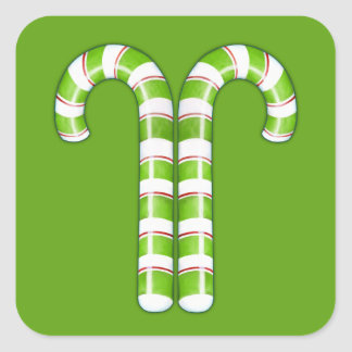 Candy Canes green Square Sticker