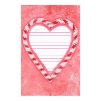 Candy Canes Heart Red Pink White Lined Stationery