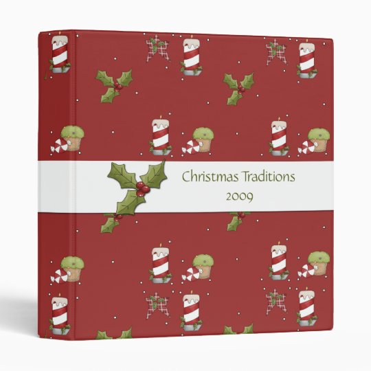 Candy Canes Holly Christmas Recipe Album Binder