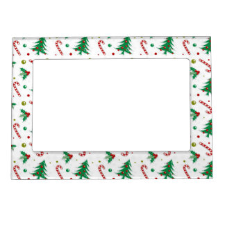 Candy Canes, Mistletoe, and Christmas Trees Magnetic Photo Frame