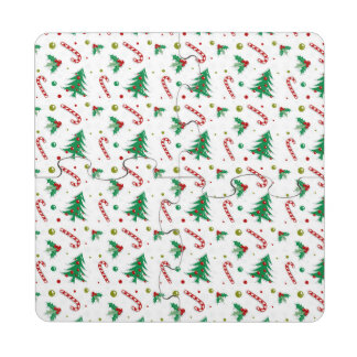 Candy Canes, Mistletoe, and Christmas Trees Puzzle Coaster