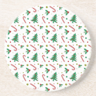 Candy Canes, Mistletoe, and Christmas Trees Sandstone Coaster