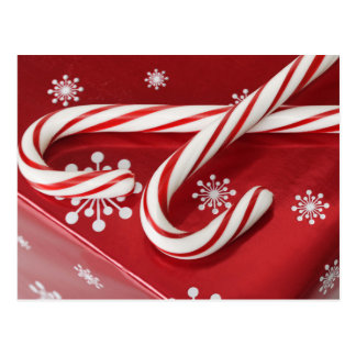 Candy canes on present postcard