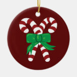 Candy Canes Double-Sided Ceramic Round Christmas Ornament