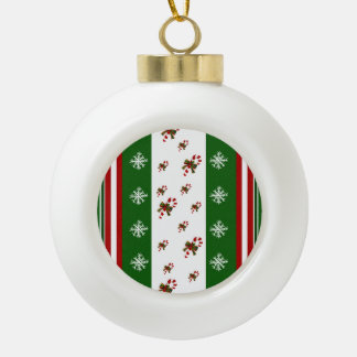 Candy Canes & Peppermint Stripes Ceramic Ball Christmas Ornament