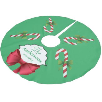 Candy Canes Personalized Christmas Brushed Polyester Tree Skirt