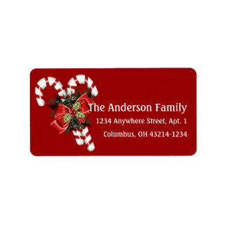 Candy Canes Pretty Red Bow Address Labels