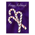 Candy Canes, Purple Greeting Card