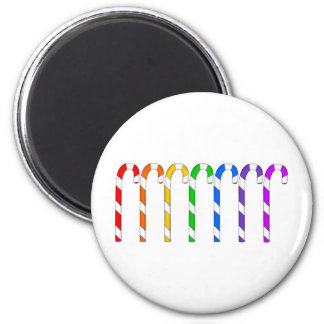 Candy Canes - Rainbow Of Flavors 2 Inch Round Magnet