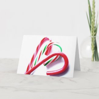 Candy Canes Red and Green Christmas Card card