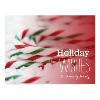 Candy canes red and green postcard