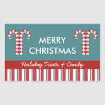 Candy Canes red Candy Gift Jar Label Rectangular Sticker